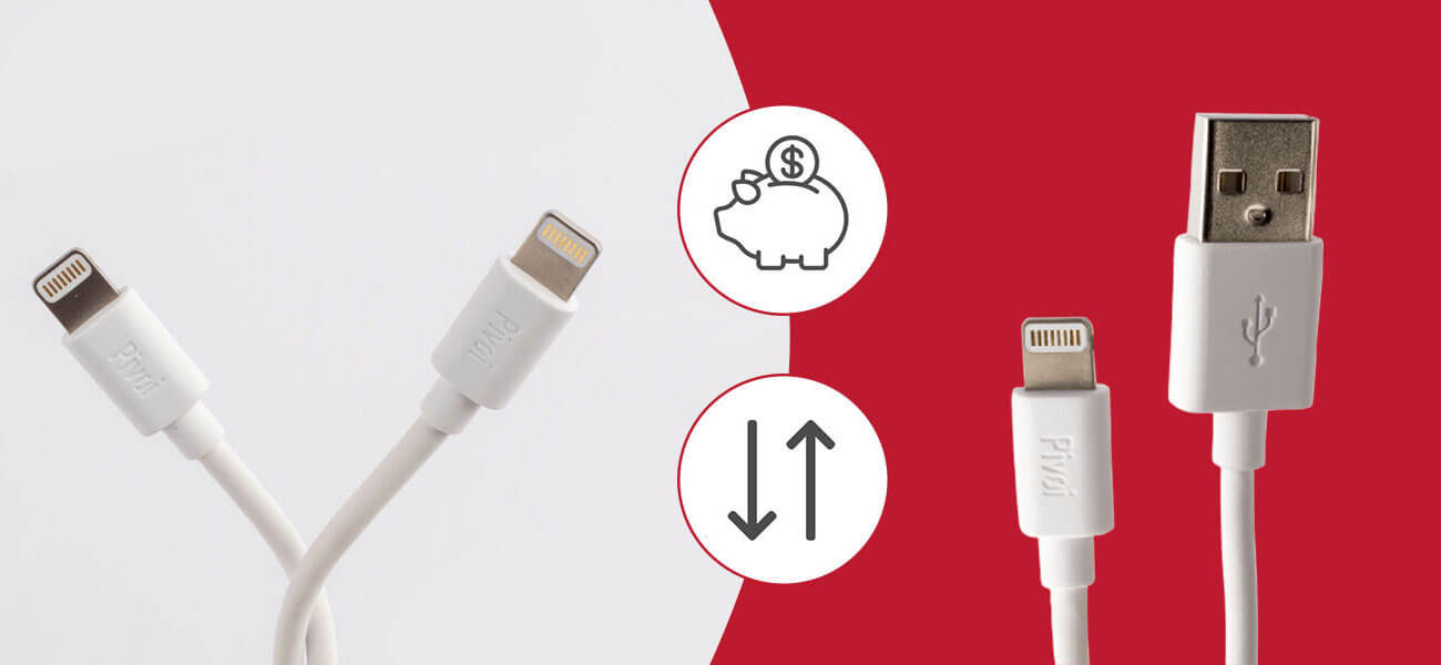 Pivoi MFi Certified USB to Lightning Cable (Pack of 3)