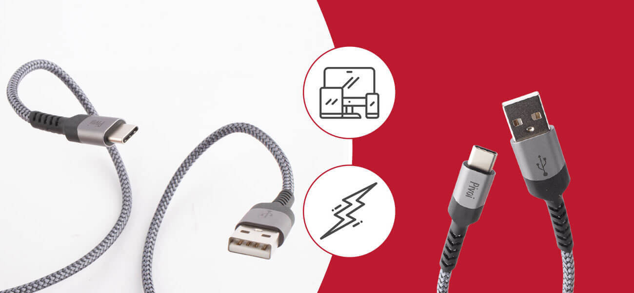 Pivoi USB Gray 2.0 AM to Type C Cable (Pack of 1)