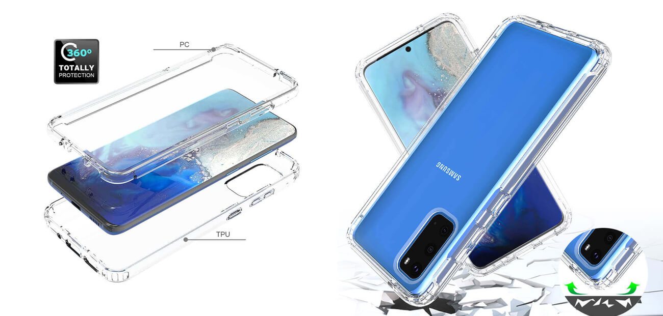 Samsung Galaxy S20 Transparent Case and Cover - PC and Soft TPU - Crystal Clear