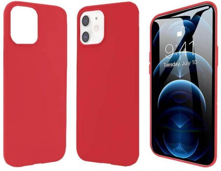 Pivoi 5.4 inch iPhone 12 Mini Silicon Mobile Cover - Red